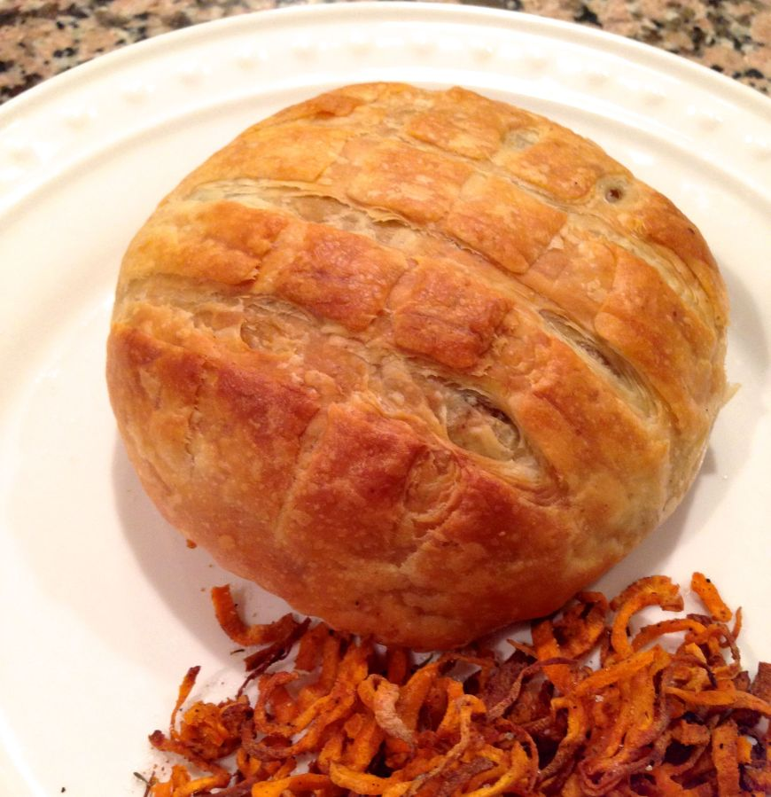 Portobello Wellington with Sweet Potato Shoestring Fries