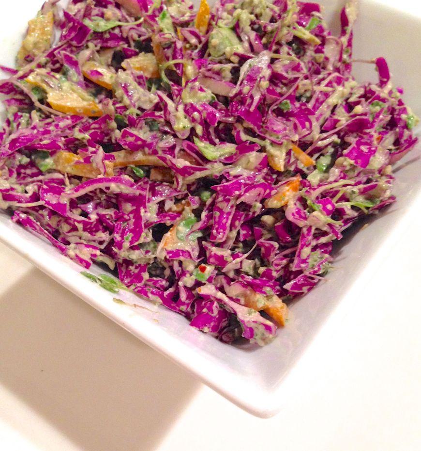 red cabbage pesto slaw