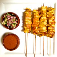 Tofu Satay with Chili Peanut Sauce and Cucumber Salad