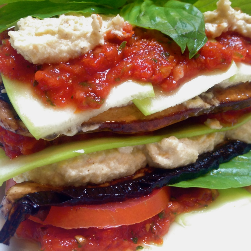raw lasagna with mushrooms