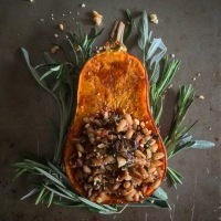 Porcini Mushroom and Farro Stuffed Honeynut Squashes with Toasted Hazelnuts